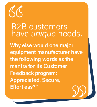 B2B Customers have unique needs
